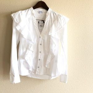 Splendid || $148 White Ruffle Button Blouse